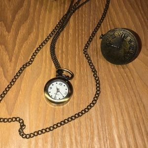 Clock necklace and ring